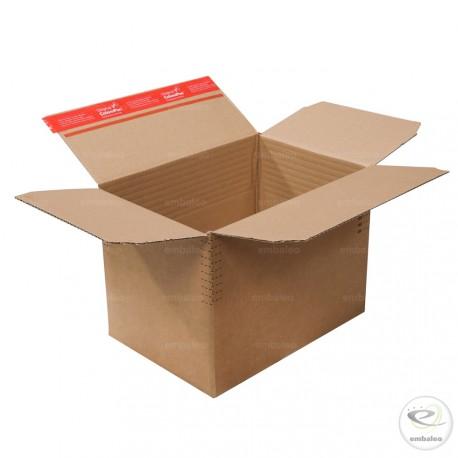 Carton à hauteur variable à fond automatique 30,4 x 21,6 cm à bande autocollante