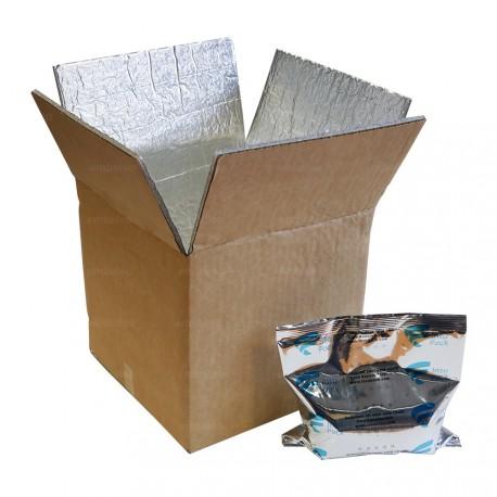 Boite carton isotherme 48h avec film mousse et aluminium 20,5 x 20 x 19 cm