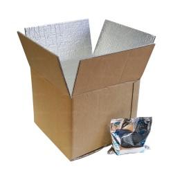 Boite carton isotherme 48h avec film mousse et aluminium 31,5 x 31,5 x 24,9 cm