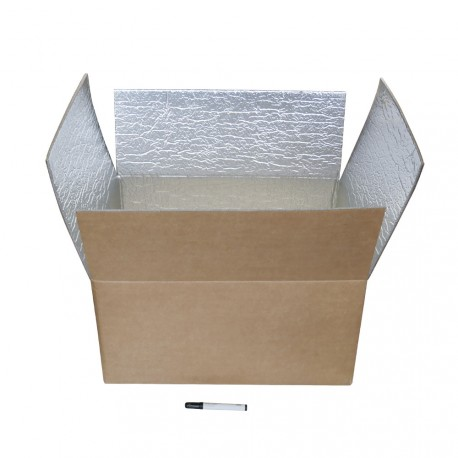Boite carton isotherme 48h avec film mousse et aluminium 60 x 45 x 30 cm