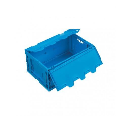 Caisse plastique pliable pleine avec couvercle 60 x 40 x 27 cm