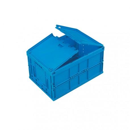 Caisse plastique pliable pleine avec couvercle 60 x 40 x 33 cm