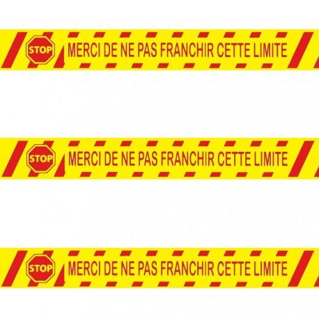 """Ruban adhésif de marquage """"Merci de ne pas franchir la limite"""" PVC jaune 5 CM x 66 M"""