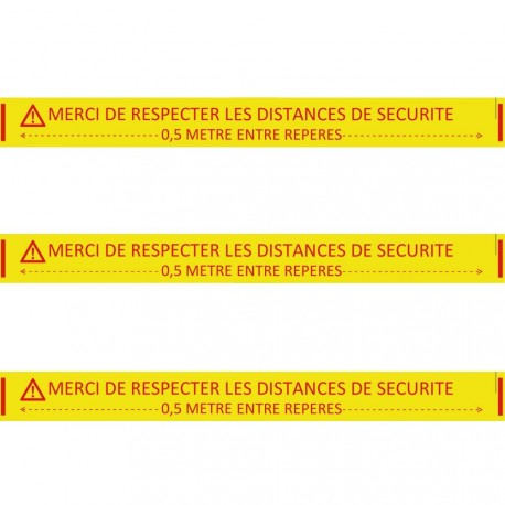 """Ruban adhésif de marquage Spécial sols béton """"Merci de respecter les distances de sécurité"""" jaune 5 CM x 33 M"""