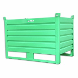 Panier de stockage en tôle pleine avec portillon rabattable 100 x 80 cm