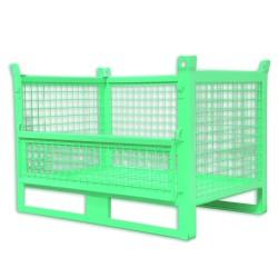 Panier de stockage grillagé avec portillon rabattable 100 x 80 cm