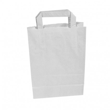 Sachet Kraft blanc avec poignées plates 32 x 16 x 35 cm