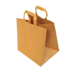 Sachet Kraft brun avec poignées plates 26 x 18 x 26 cm