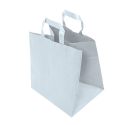 Sachet Kraft blanc avec poignées plates 26 x 18 x 26 cm