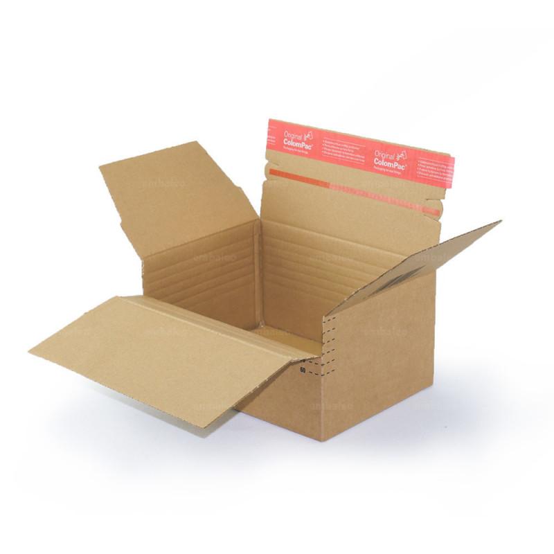 carton simple cannelure fermé par du ruban adhésif à hauteur variable