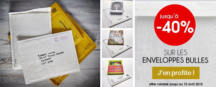 Promotions Enveloppes Bulles Mail Lite jusqu'au 15 avril 2015