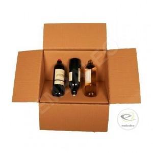 Caisse carton 3 bouteilles avec module de calage